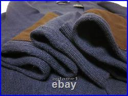 NWT POLO RALPH LAUREN merino wool suede patch CARDIGAN SWEATER M Italian Yarn