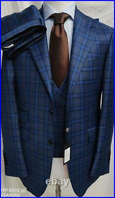 Navy/grey super 180 Tombolini 3 piece wool suit with double breasted vest