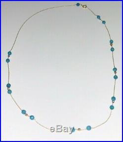 Necklace Gold 18K Blue Gemstone Italian unique piece
