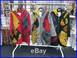 New Ladies Womens Italian Lagenlook Patch Floral Fleece Hooded Jackets Fit 14-24