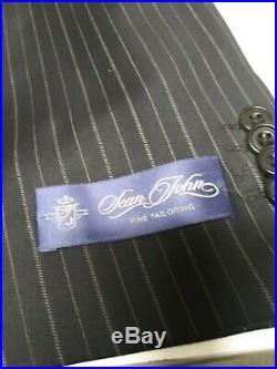 New SEAN JOHN Mens Blue pinstripe Suit 2 Piece 100% Wool 3 button sz 46R W40