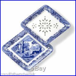 New Spode Italian Blue & White 2 Piece Fruit Or Veg Strainer Set New Boxed