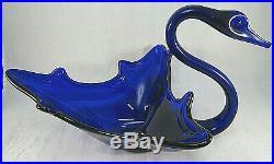 OOAK Vintage Hand Blown BLUE SWAN Bird Art Glass MURANO STYLE Center Piece 14