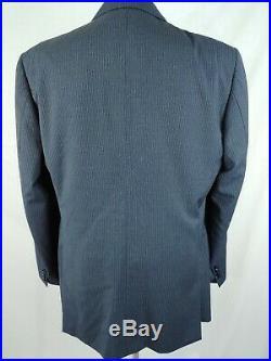 Pal Zileri Mens Two Piece Pinstripe Suit Navy Blue 2 Button Wool Size 46XL 40x33