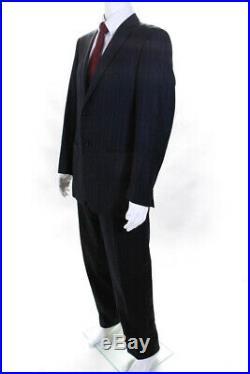 Pal Zileri Mens Two Piece Pinstripe Suit Navy Blue Size 50 Italian