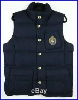 Polo Ralph Lauren Men's Wool Down Vest Jacket Bullion Patch Crest Size 2XL