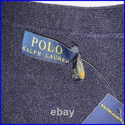 Polo Ralph Lauren Merino Wool Suede Patch Cardigan Sweater Italian Yarn Sz L NWT