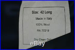Pronto Uomo ZIGNONE Mens Navy Blue ITALIAN Flat Front 2 Piece Suit 42L 38x31
