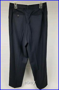 Ralph Lauren Blue Label Mens Suit 42L Navy Pinstripe 2 Piece 3 Button Wool 33X30
