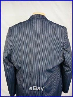 Ranieri Italian luxury suit navy stripe 2 piece men size 52L 44x 36 Super 150's