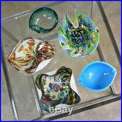 Set 5 Pieces Italian Murano Glass Dishes AVeM Tutti Frutti & Others Turquoise Bl