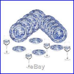 Spode Blue Italian 16 piece Earthenware Dinnerware Set for 4 with4 stemmed glasses