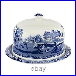 Spode Blue Italian 2 Piece Serving Platter with Dome 11.5