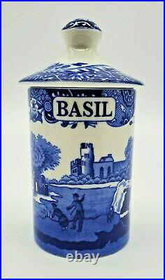 Spode Blue Italian 2 Piece Set Spice Jars with Lids Brand New