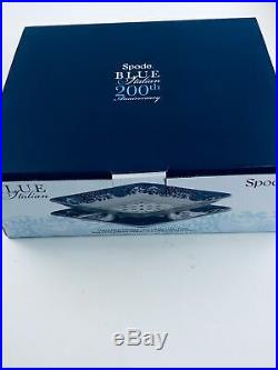 Spode Blue Italian 200th Anniversary 2 Piece Fruit Strainer Platter NIB