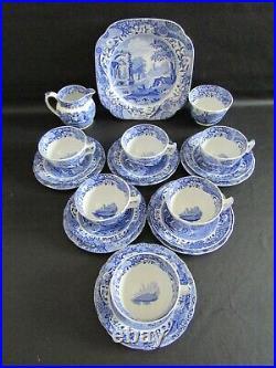 Spode Blue Italian 21 Piece Tea Set Vgc