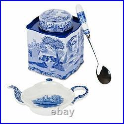 Spode Blue Italian 3 Piece Tea Set Tea Caddy Spoon Rest & Spoon
