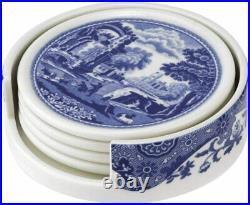 Spode Blue Italian 4 Piece Ceramic Coasters with Holder