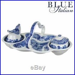 Spode Blue Italian 4 Piece Entertaining Set Basket, Cream Jug & Sugar Bowl