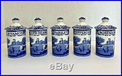 Spode Blue Italian 5 Piece Spice Jar Set New