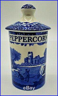 Spode Blue Italian 6-Piece Set Spice Jars with Lids Brand New