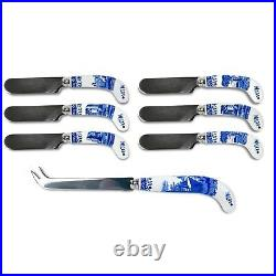 Spode Blue Italian 7 Piece Cheese Knife & 6 Spreaders Gift Set New In Box