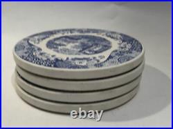 Spode Blue Italian Coaster Set Blue & White Cork Backing 4 Piece Set