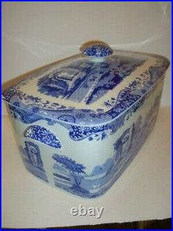 Spode Blue Italian Large Bread Bin Stunning Piece