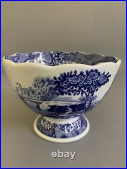 Spode Blue Italian Scalloped Pedestal Bowl and Cereal Bowls 3 Pieces