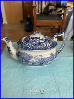 Spode Blue Italian Tea Pot 4 Tall By Apx 7 Long Great Vintage Piece Numbered