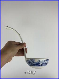 Spode Blue White Italian 3 Piece Soup Tureen W Ladle