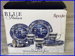 Spode Classic Blue Italian 12 Piece Earthenware Dinnerware Set for 4 NEW