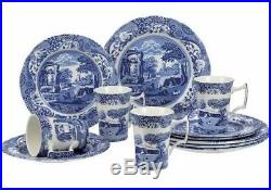 Spode Classic Stunning Blue Italian 12 Piece Earthenware Dinnerware Set for4 NEW