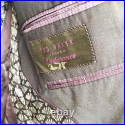 TED BAKER SLIM FIT BIRD'S EYE WOOL SUIT JACKET Blazer One Piece 2 Button 38S