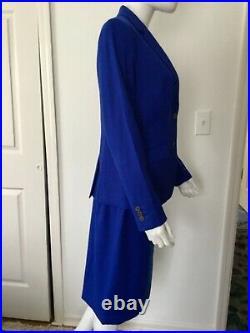 Talbots Cobalt Blue Italian Wool Flannel 2 Piece Suit Jacket Sz 6 Skirt Sz 8