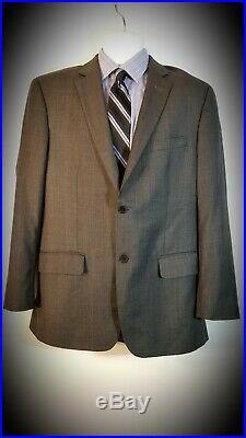 Tasso Elba Dark Grey Light Blue Wool/Cashmere exclusively for Macy 2 piece suit