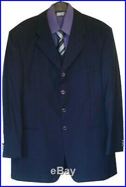 Tiziano Reali Men's Italian Designer 3 Piece Suit, Open Hem Chest 48 / W40