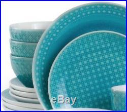 Turquoise Round Mosaic 32 Piece Dinnerware Set Italian Style 8 Place Setting Dis
