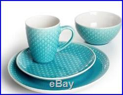 Turquoise Round Mosaic 48 Piece Dinnerware Set Italian Style 12 Place Setting Di
