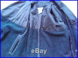 USAI coat Italian blue boucle asymmetric jacket S drape front patch pockets