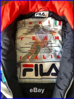 VTG 80s 90s FILA Spell Out Italian Ski Team One piece Suit Snow Snowsuit 38