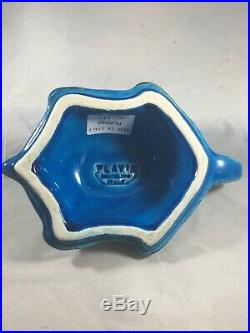 VTG MCM FLAVIA Blue Green Sea Turtle Montelupo Italy 1970s Rare Beautiful Piece