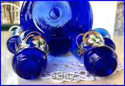 VTG Murano Cobalt Blue Decanter Glass Cordial Set 24k Gold Overlay 5 Piece Set
