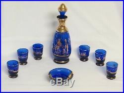 VTG Murano Cobalt Blue Decanter Glass Cordial Set 24k Gold overlay 9 Piece Set