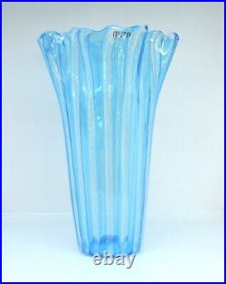 Vase Glass Murano Blue Authentic Reticello Piece Collectibles