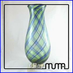 Vase Glass Murano Canes Aventurine Green and Blue with Gold Piece Collectibles