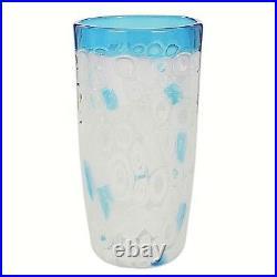 Vase Glass Murano Murrina White & Blue Authentic Piece For Furnace