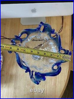 Venetian Art Murano Glass Cobalt Blue Clear Center Piece Oceanscape Vase