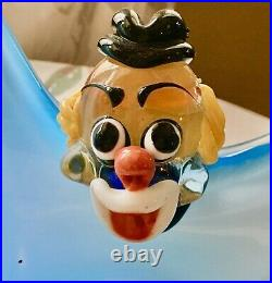 Venetian Glass Clown Blown Glass Blue Arms Outstretched UNUSUAL PIECE