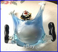 Venetian Glass Clown Blue Arms Outstretched UNUSUAL PIECE